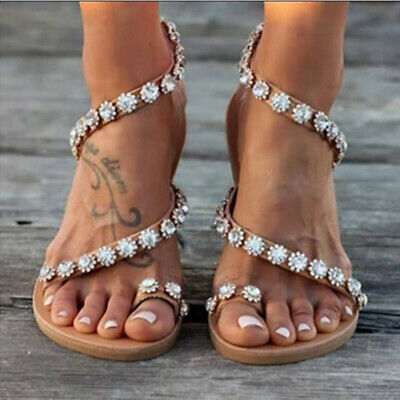 Women Bohemian Beaded Flat Sandals PU Flat Flip Flops Toe Ring Summer Shoes - Sandals Beaded