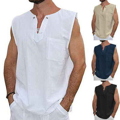 Fashion Mens Baggy T Shirt Cotton Linen Tee Hippie Shirts Sleeveless Yoga Tops - Hippie Man