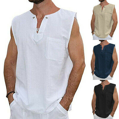 Fashion Mens Baggy T Shirt Cotton Linen Tee Hippie Shirts Sleeveless Yoga Tops Cotton Hippie Shirt
