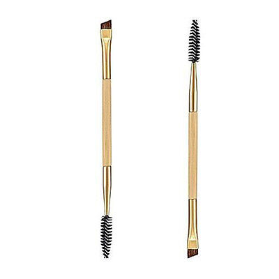 1PCS Makeup Tool Bamboo Handle Double Eyebrow Brush+Eyebrow Comb Makeup Brush