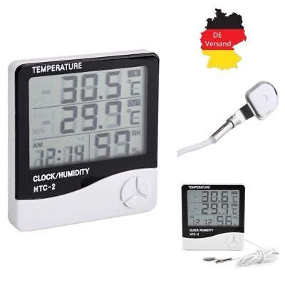 Digital Thermometer Innen Außen Hygrometer Luftfeuchtigkeit Temperatur Alarm Uhr