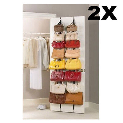 2pcs 16 Hooks Over Door Storage Clothes Bag Hat Cap Strap Hanger Rack Organizer