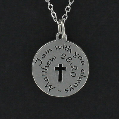 I Am With You Always Necklace - Pewter Charm on Chain Bible Scripture Verse NEW](Always With You)