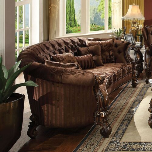 Traditional Design 1piece Cherry Finish Button Tufted Sofa Living Room Furniture