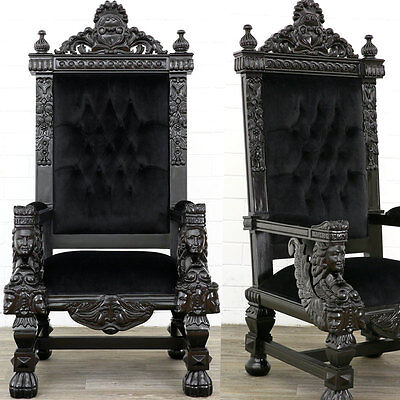 BIG THRONE CHAIR BLACK-VELVET KINGCHAIR, riesiger THRON SESSEL in schwarz MASSIV