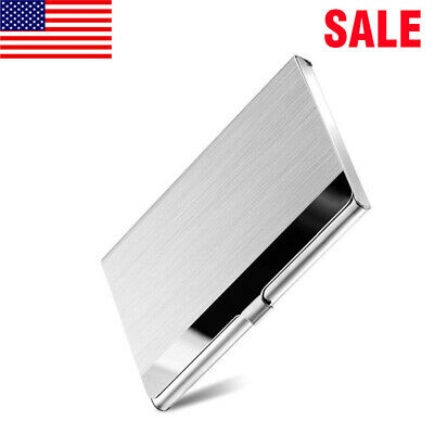 Pocket Stainless Steel Metal Business Card Holder Case Id Credit Wallet Usa