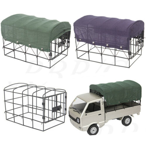 Car Parts - Canvas RC Car Truck Hood Cover Metal Cage For 1/10 WPL D12 Truck Vehicle Parts