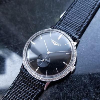 LONGINES Men's Solid 14K Gold Diamond Dress Watch 1017 Manual Wind c.1970s MS204
