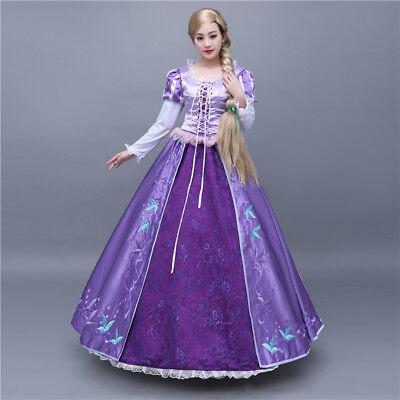 ney Cosplay Costume Kostüm Abend-kleid Princess Long Dress  (Disney Tangled Rapunzel Kostüm)