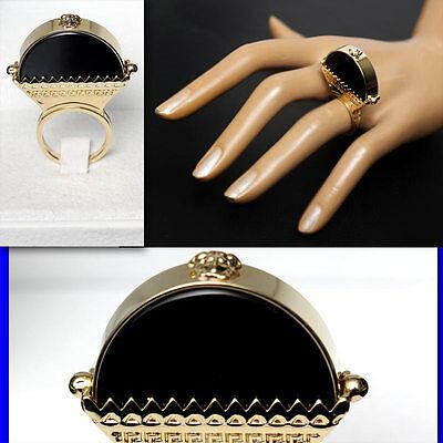 VERSACE Ladies ONYX MEDUSA RING w/ Box (6 1/2)