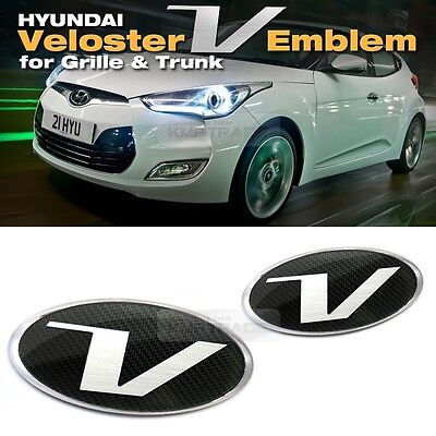 Carbon Emblem Front Grille + Rear Trunk for HYUNDAI 2011-2017 Veloster / Turbo
