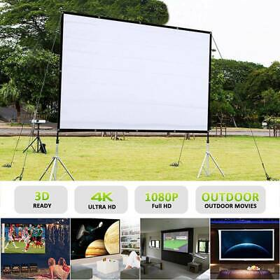 """120"""" 16:9 HD Projection Projector Screen Portable Foldable Home Theater Outdoor"""
