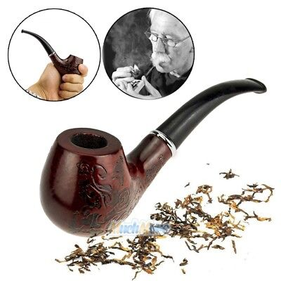 Handcraft Carved Solid Wood Wooden Smoking Pipe Tobacco Cigarettes Cigar Pipe ()