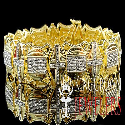 Diamond Cross Link Bracelet - Real Genuine Diamond Mens Cross Style Link Bracelet In Yellow Gold Finish 2.00Ct