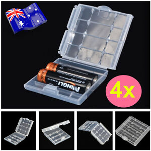 4x Clear Plastic AA AAA Battery Box Storage Case Cover Batteries Holder