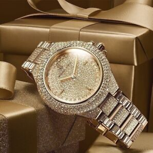 57721fde4f8f New MICHAEL KORS Ladies MK5720 Camille Crystal Gold Pave Dial St Steel Watch