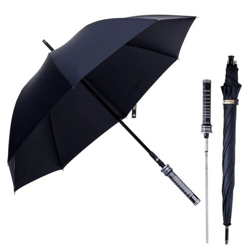Long Automatic Umbrella Black Large Handle Men Windproof Self Sword Self Defense