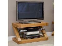 Solid Oak Designer TV Stand NEW