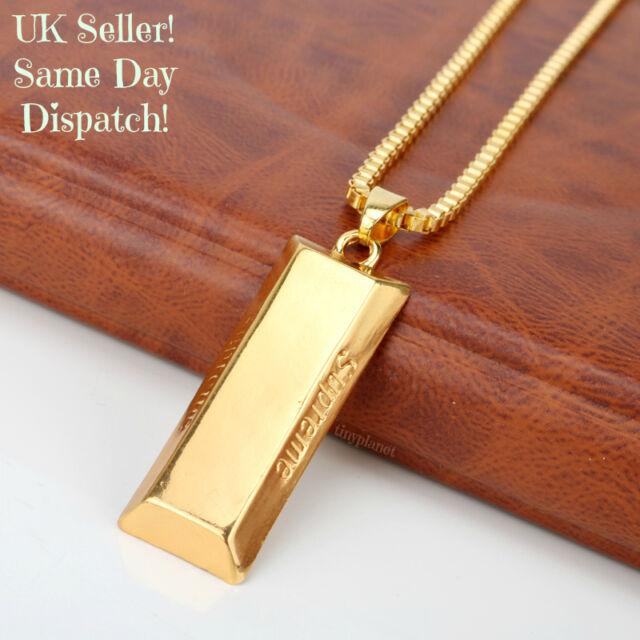 Supreme Gold Bar Necklace Pendant Chain Bullion Luxury Hip Hop