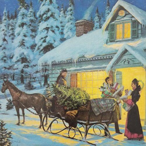 1975 Drambuie Scotch Whisky Liqueur Christmas Sleigh Schulz art vintage print ad