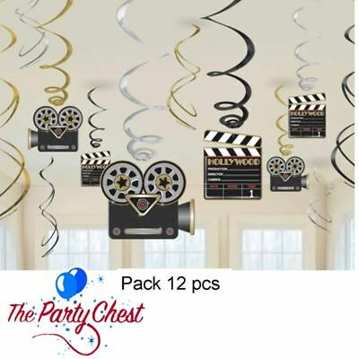 12 HOLLYWOOD MOVIE SWIRLS Movie Night Oscars Party Hanging Decorations 74473](Oscar Night Decorations)