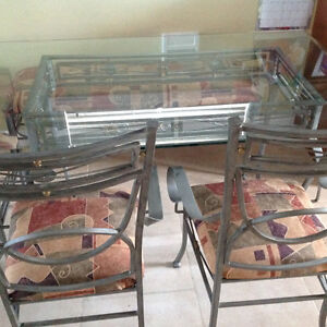 Wrought iron glass table with bench and 5 tier stand