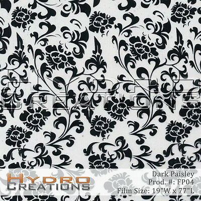 Hydrographic Film Hydro Dip Water Transfer Floral Paisley Pattern Black 19x77