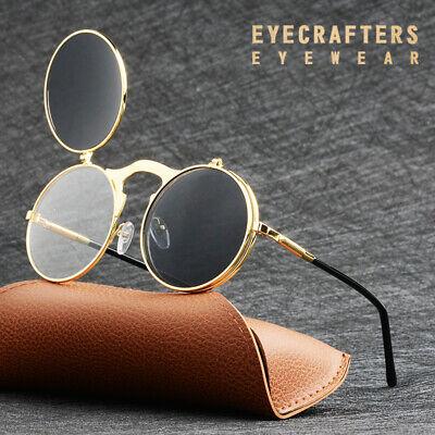 Mens Womens Fashion Round Punk Mirror Glasses Metal Vintage Steampunk Sunglasses