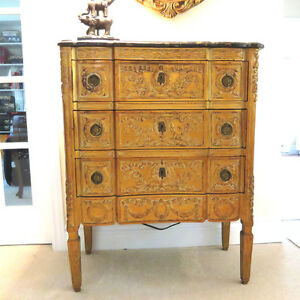 3 Drawer Carved Antique Gold Chest