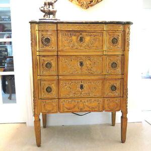 3 Drawer Carved Antique Gold Chest - Dorval