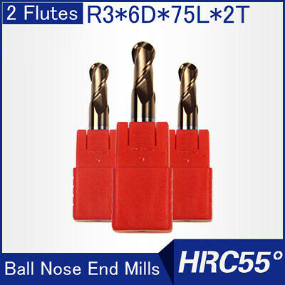 Hrc55 2flutes R3 Solid Carbide Ball Nose End Mills L 75mm