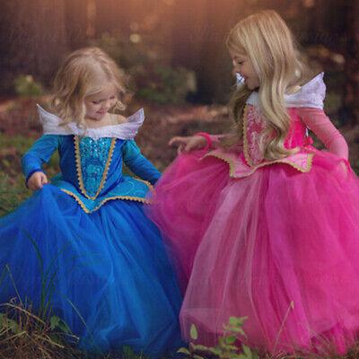 Kids Girl Sleeping Beauty Princess Aurora Fancy Party Dresses Cosplay Costumes