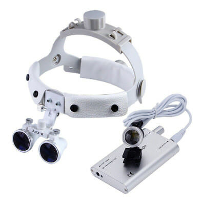Dental Surgical Leather Headband Loupes Dy-108 3.5x-r White With Led Headlight