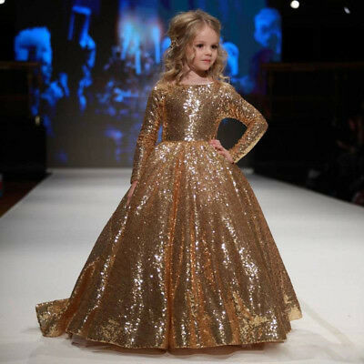 Gold Sequins Girls Pageant Dress for Teens Kids Princess Party Ball Gown New](Gold Dress For Girl)