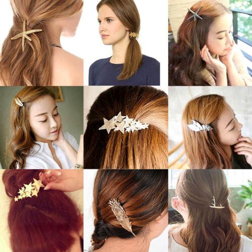Damen Gold Silber Haarnadel Blatt Haarspange Haarklammer Haarschmuck Accessoire