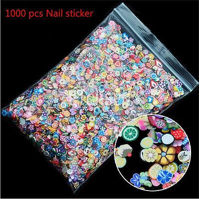 1000PCS 3D Fruit  Fimo Slice Clay DIY Nail Art Tip Sticker Decoration_DM