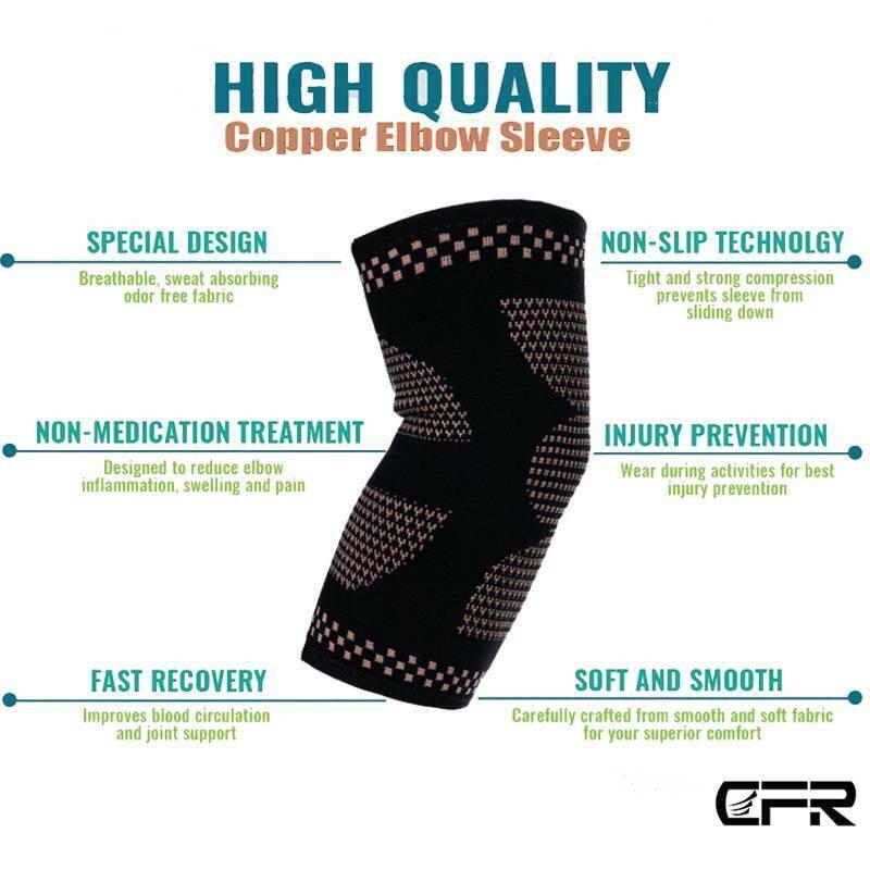 Copper Elbow Brace Fit Compression Pain Tennis Golfer