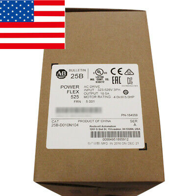 2019 Usa Stock Allen Bradley 25b-d010n104 Powerflex 525 4kw 5hp Ac Drive