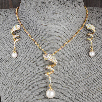 18K Yellow Gold Filled CZ Pearl Crystal Earrings Necklace For Women Jewelry Set 18k Pearl Jewelry Set
