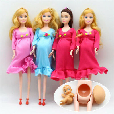 Soft Plastic Real Pregnant Mom Baby Pregnancy Doll Barbie Girls Toys Doll