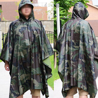 Army Military Outdoor Woodland Camo Emergency Camouflage Rain Poncho Raincoat