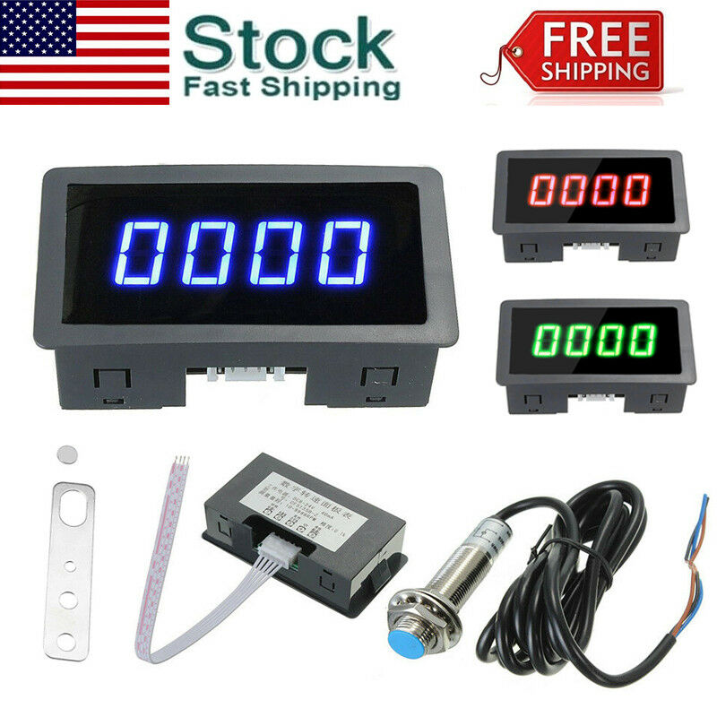 4 Digital Blue LED Tachometer RPM Speed Meter + Hall Proximity Switch Sensor NPN