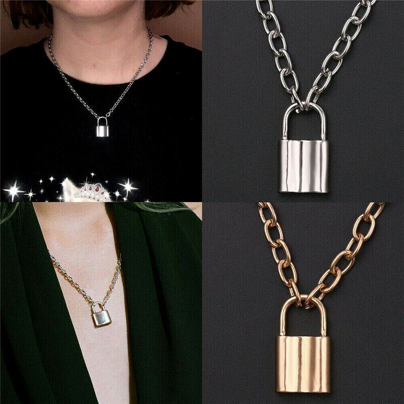 Alloy Lock Pendant Necklace Charms Padlock Long Chain Choker Jewelry Fashion 2