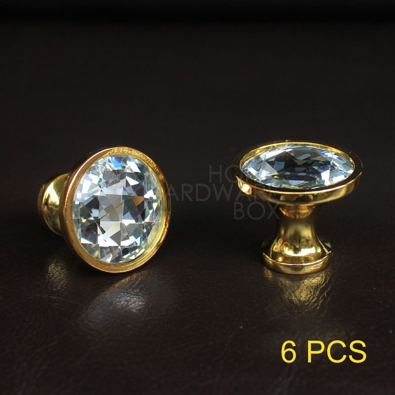 Crystal Knobs Kitchen Cabinets: Crystal Glass Drawer Knob 6 Pc Brass Golden Base Kitchen