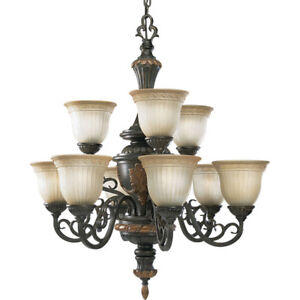 IRON CHANDELIER WITH UMBER MIST GLASS - 9 LIGHT - BRAND NEW!