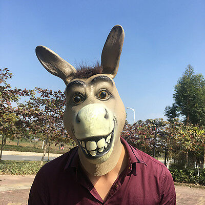 Funny Head Masks (Funny Donkey Head Mask Latex Halloween Costume Prop Animal Head Party)