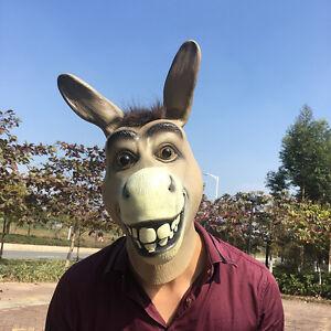 Funny Donkey Head Mask Latex Halloween Costume Prop Animal Head Party Cosplay