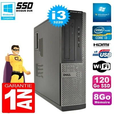 PC DELL 3010 DT Core I3-3220 Ram 8Go Disque 120Go SSD Graveur Wifi W7