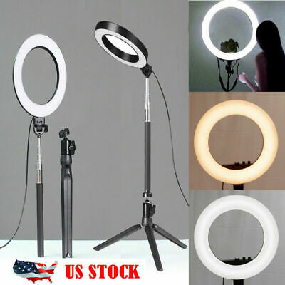 "8"" LED Ring Light Dimmable 5500K Lamp Photography Camera Photo Studio Phone【US】"