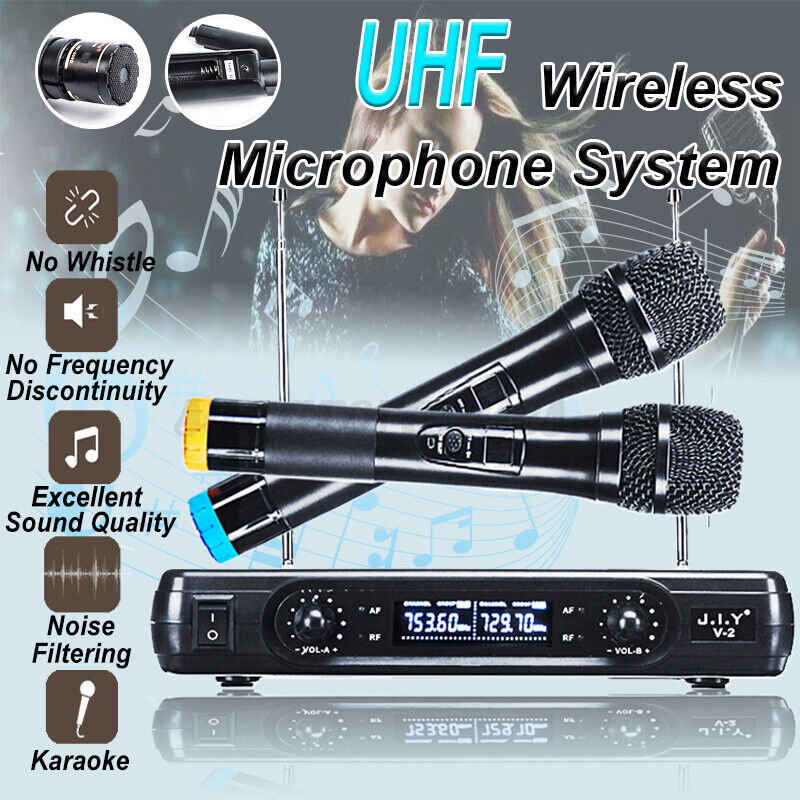 2 Channel Wireless Microphone System Handheld Cordless Mic Karaoke Stage KTV